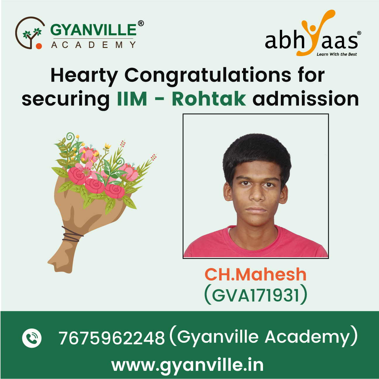 Hearty Congratulations for Securing IIM-Rohtak Admission